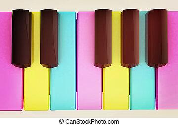 Colorfull piano keys. 3D illustration. Vintage style. -...