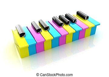 colorfull, piano toetsen