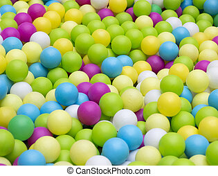 Colorfull plastic balls in children park