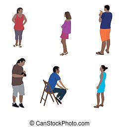 Colorfull Silhouettes of People Vector Illustration.