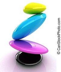 colorfull, spa, stones., pictogram, 3d