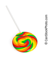lollipops - colorfull sugar lollipops isolated on white...