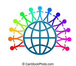 Colorfull world peace chains with white background.