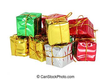 colorfully, グループ, 贈り物, 隔離された, 箱, 背景, 白いリボン
