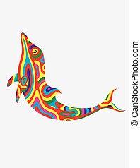 colorfully, 抽象的, イルカ