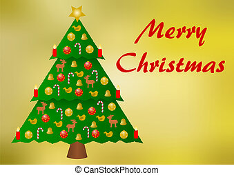 Colorfully decorated christmas tree on a golden background