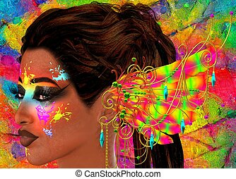 Colorful,makeup,paint and feathers