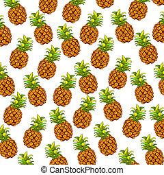 colori, ananas, stoffa, bianco, fondo