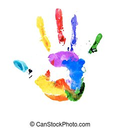 colori arcobaleno, handprint, vibrante