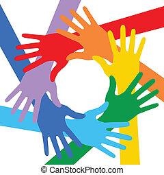colori arcobaleno, mani, icona