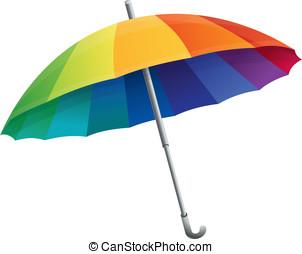 colori arcobaleno, vettore, ombrello