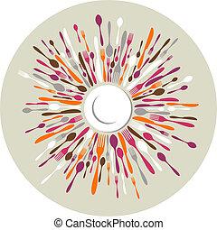colori, cerchio, coltelleria, fondo, ristorante