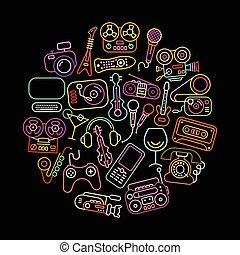 colori, intrattenimento, neon, icone