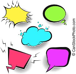 colori luminosi, discorso, retro, bolle, comico