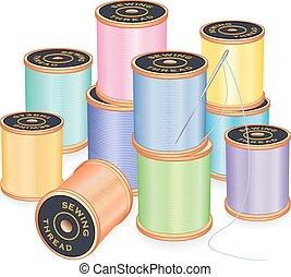 colori pastelli, ago, fili