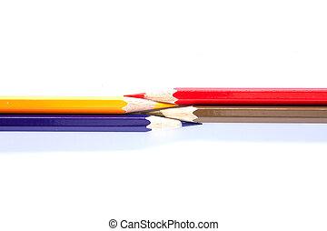 colori pastelli, fila, organizzato, varietà