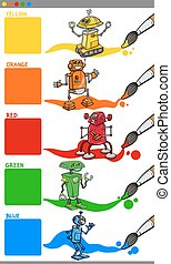 colori, robot, cartone animato, primario