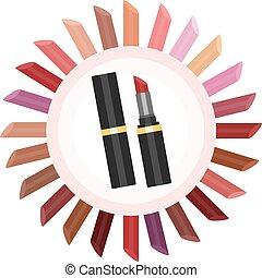 colori, rossetto, set.