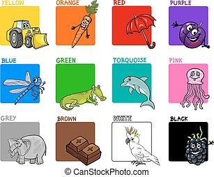 colori, set, primario, cartone animato