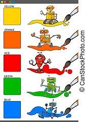 colori, set, robot, cartone animato, fondamentale