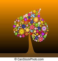 colorido, árbol, con, flores