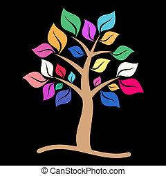 colorido, árbol