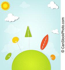 colorido, árboles, en, un, colina verde