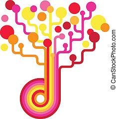 colorido, árvore, backgound, -, vetorial, tecnologia
