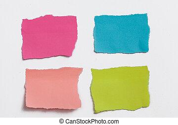 colorido, él, colección, aislado, note papel, poste