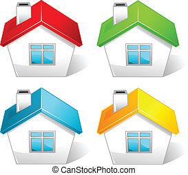 colorido, ícones, casa