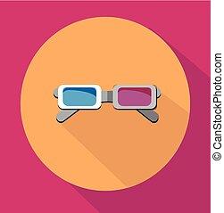 colorido, óculos, 3d