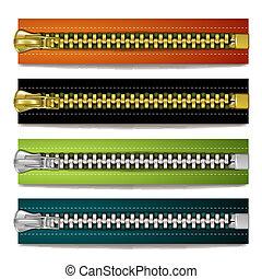 colorido, aço, zipper