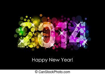colorido, año, -, nuevo, 2014, feliz