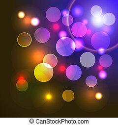 colorido, abstratos, luzes, vetorial, fundo, brilhante