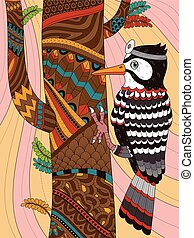 colorido, adulto, pájaro carpintero, página