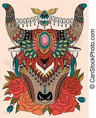 colorido, adulto, yak, página