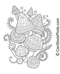 colorido, adultos, hongo, dibujo, vector, libro
