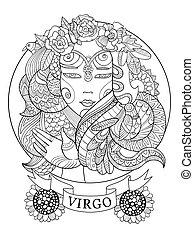 colorido, adultos, señal, virgo, vector, zodíaco, libro