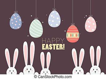 colorido, ahorcadura, huevos de pascua, con, conejitos