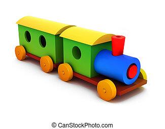 colorido, aislado, plástico, tren, plano de fondo, blanco,...