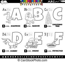 colorido, alfabeto, cartas, caricatura, f, educativo, libro, conjunto