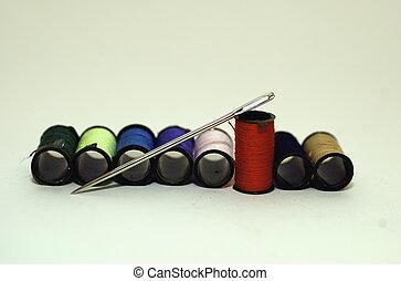 colorido, algodão, carretéis, &, agulha