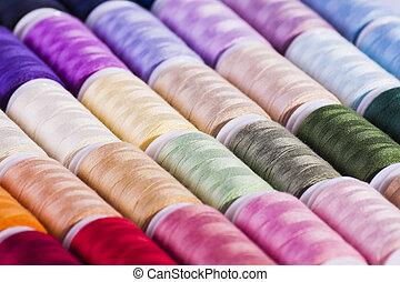 colorido, algodão, carretéis
