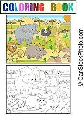 colorido, animales, adultos, áfrica, vector, sabana