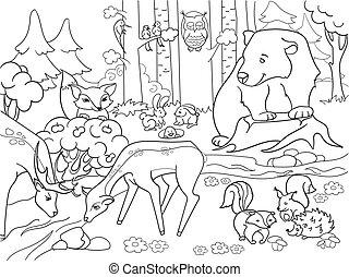 colorido, animales, adultos, vector, bosque, paisaje