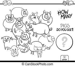 colorido, animales, cerdos, juego, libro, contar