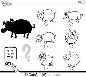 colorido, animales, cerdos, juego, libro, sombra