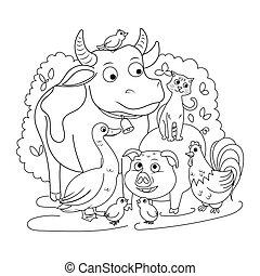 colorido, animales, granja, niños, vector, libro
