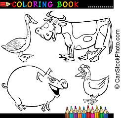 colorido, animales, granja, o, libro, página