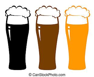 colorido, anteojos de cerveza, con, espuma